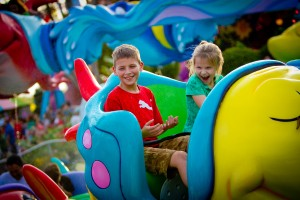 On the popular attraction One Fish Two Fish Red Fish Blue Fish, riders steer their fish through a circular obstacle course of playfully squirting fountains. The ride is found in Seuss Landing -where the beloved books of Dr. Seuss spring to life.