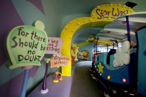 STAR WASH Ð Children and their parents can immerse themselves in the world of Dr. Seuss and his famous stories when riding The High In The Sky Seuss Trolley Train Ride! at Universal OrlandoÕs Islands of Adventure theme park. The attraction is located in Ð and above Ð Seuss Landing, an entire island dedicated to Dr. Seuss and his beloved stories and characters. It is the only place in the world where visitors can experience the whimsical world in which Dr. SeussÕ classics come to life.